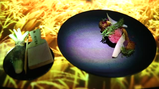 stockvideo's en b-roll-footage met the 'unity' dish is served in the main dining room of the tree by naked yoyogi park restaurant produced by naked inc on august 16 2018 in tokyo japan... - dining room