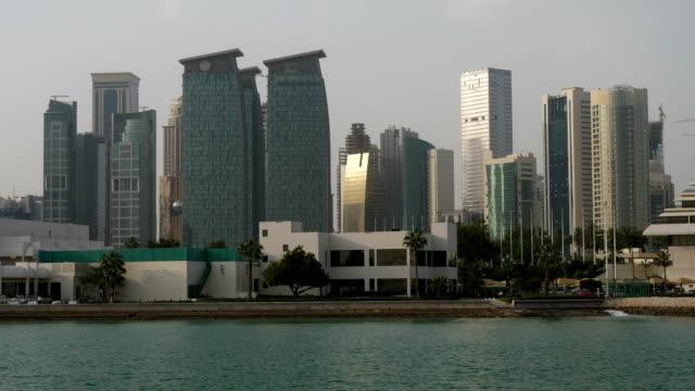 The urban skyline of West Bay in Doha Qatar at daytime 4K resolution