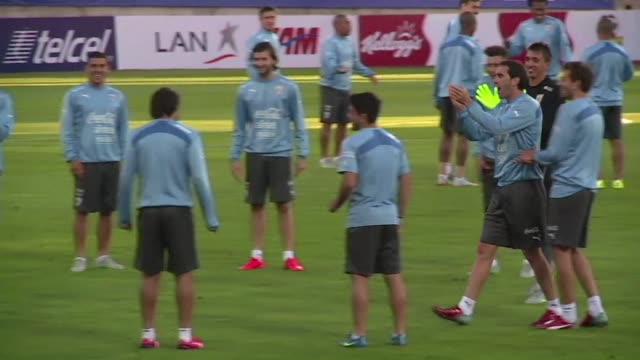 The Uruguay squad trains in La Serena ahead of their game against Rio de la Plata rivals Argentina at the 2015 Copa America