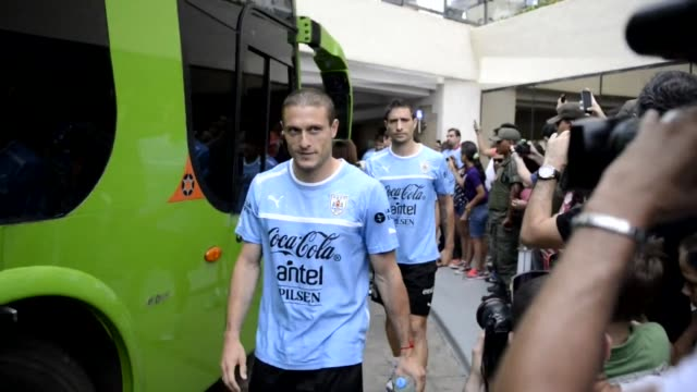 The Uruguay team arrive in Venezuela ahead of their FIFA World Cup Brazil 2014 qualifying football match against Venezuela CLEAN Uruguay team arrive...