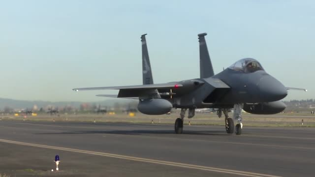 the u.s. air force deployed f-15s from the 142nd fighter wing, portland, oregon, and the 104th fighter wing, westfield, massachusetts, to leeuwarden... - operation atlantic resolve stock videos & royalty-free footage