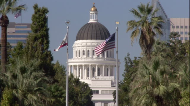 the u.s. and california state flags fly in front of the california state capitol. - sacramento stock videos & royalty-free footage