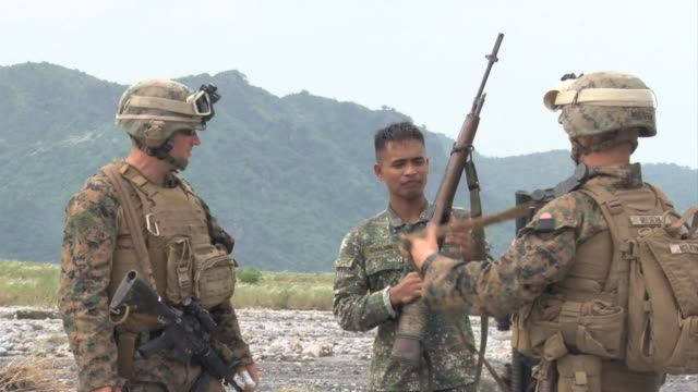 the us and philippines staged manoeuvres as part of an annual military exercise saturday clean us and philippines hold joint military exe on... - luzon stock videos & royalty-free footage