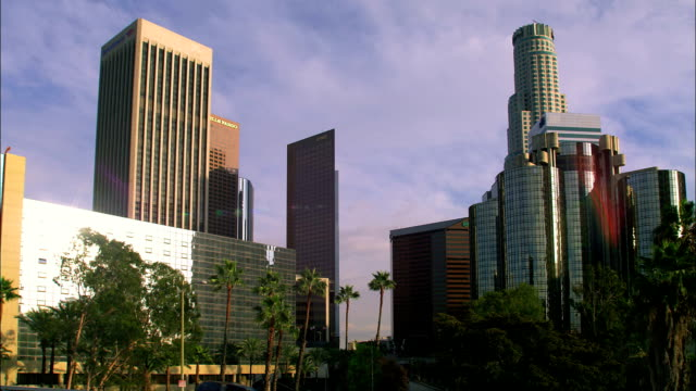 The US Bank Tower rises over the Los Angeles skyline.