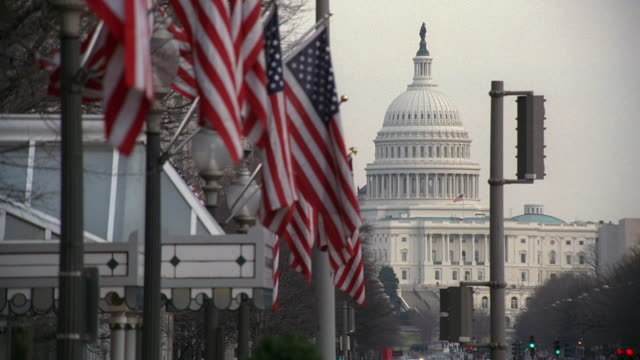 la the u.s. capitol building and a row of american flags waving in the breeze / washington, d.c., united states - capitol building washington dc stock videos & royalty-free footage