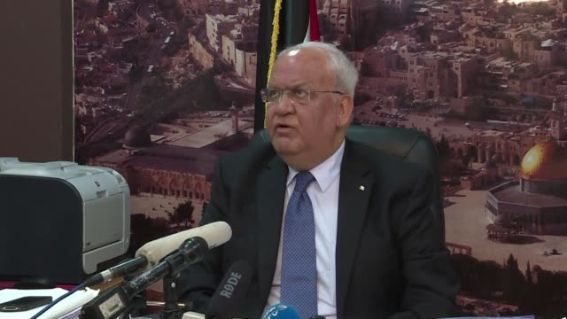 the us embassy in jerusalem is a new settlement according to the secretary general of the palestine liberation organisation saeb erekat during a... - palestine liberation organisation stock videos & royalty-free footage
