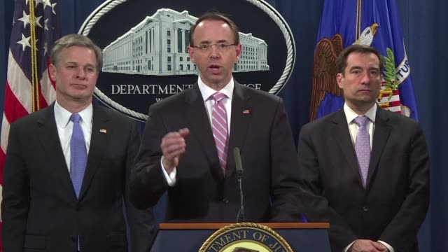 the us justice department announces the indictment of two chinese government hackers who allegedly targeted 45 companies and agencies in a dozen... - christopher a. wray stock videos & royalty-free footage