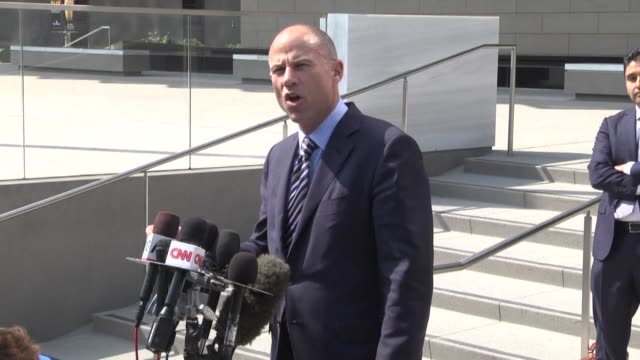 the us lawyer defending adult film actress stormy daniels in a hush money case speaks to the press after appearing at the federal court in los angeles - stormy daniels video bildbanksvideor och videomaterial från bakom kulisserna