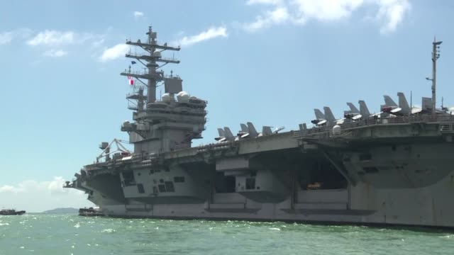 the us navy's uss ronald reagan a nimitz class nuclear powered supercarrier sailed into hong kong waters with the commander of task force 76 rear... - aircraft carrier stock videos & royalty-free footage