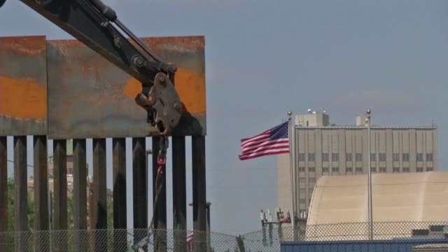 the us replaces a section of the mexico us border fence next to the international border bridge paso del norte in juarez mexico - national border stock videos & royalty-free footage