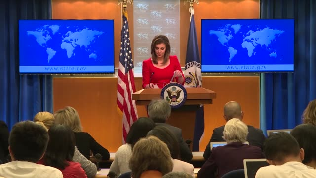 the us state department said wednesday that iran is withdrawing hezbollah forces from syria because of washington's pressure campaign against tehran... - bestrafung stock-videos und b-roll-filmmaterial