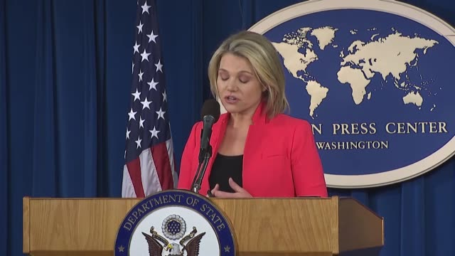 """the u.s. state department spokesperson heather nauert on thursday called the ypg in afrin, syria """"the pkk"""", which is a terror group that has waged a... - conference phone stock videos & royalty-free footage"""