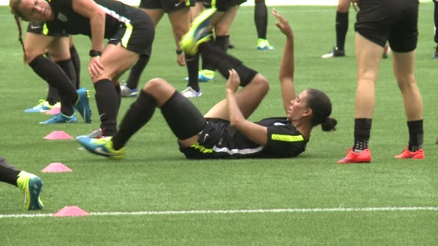 The US Women's football team practiced at BC Place stadium where they will face Japan Sunday in the World Cup final