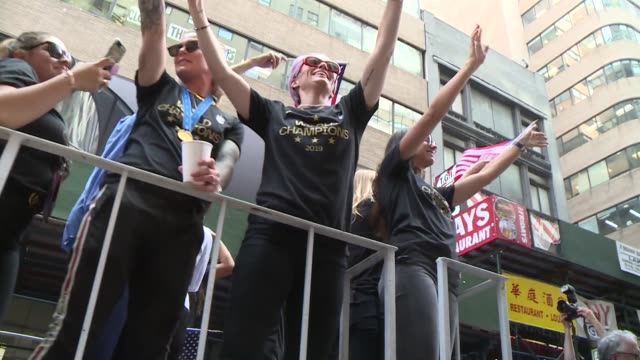 the us women's national team celebrating with parade and fans in ny - football team stock videos & royalty-free footage