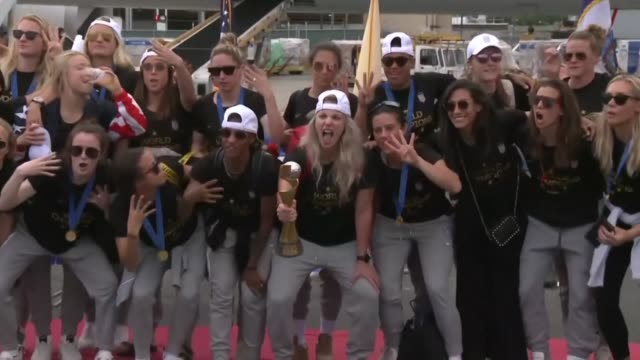the us women's soccer team arrive at newark airport after winning its fourth fifa women's world cup beating netherlands 2-0 in france - 2019 stock videos & royalty-free footage