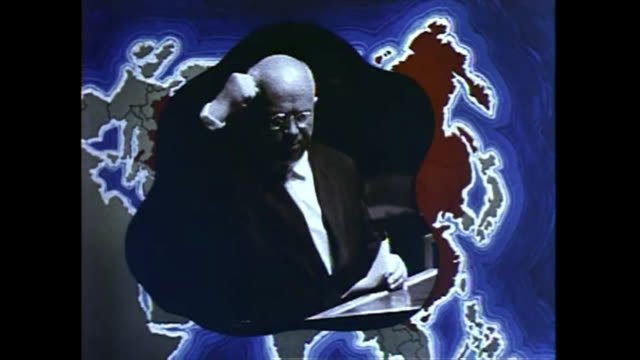 president of the ussr nikita khrushchev gesticulates while public speaking. b-roll historical footage from a pentagon video report. the clip has been... - 酋長点の映像素材/bロール