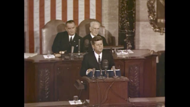 john f. kennedy, president of the united states, during his 1963 state of the union speech where he sums up the usa military position during the cold... - cold war stock videos & royalty-free footage