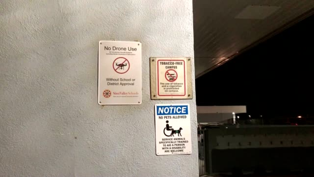 the use of drones is prohibited on school campus in southern california. - 禁煙マーク点の映像素材/bロール