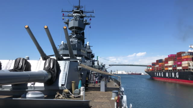 the uss iowa museum is a maritime museum located at the port of los angeles in san pedro, los angeles, california, united states. the museum's main... - warship stock videos & royalty-free footage