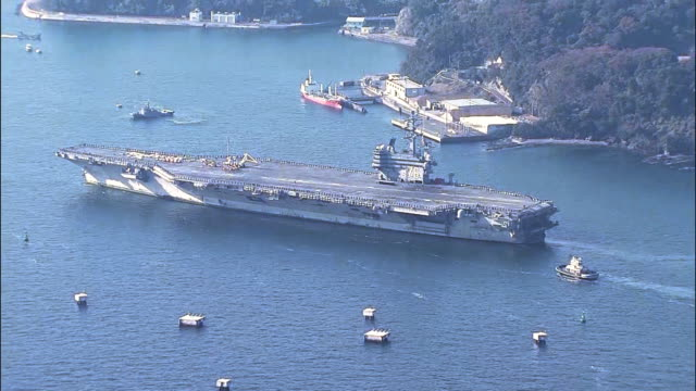 The USS Ronald Reagan back at the US naval base in Yokosuka Kanagawa Prefecture on the morning of Dec 4