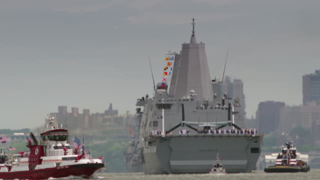 The USS San Antonia pulls into Manhattan during Fleet Week.