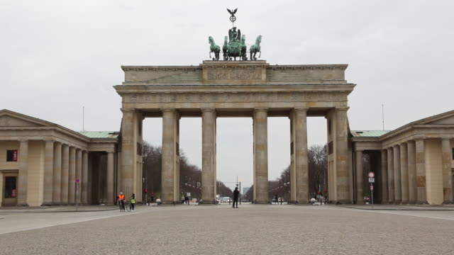the usually-busy pariser platz square, site of the brandenburg gate, is seen with few visitors due to the global spread of coronavirus, on march 20,... - germany stock videos & royalty-free footage