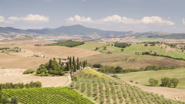 The Val d'Orcia and Il Belvedere in Tuscany, Italy.