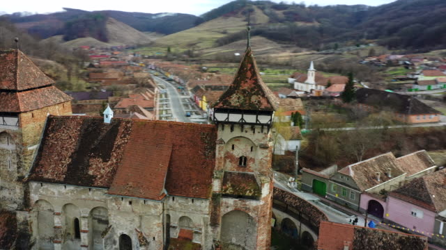 the valea viilor fortified church in transylvania - transylvania stock videos & royalty-free footage