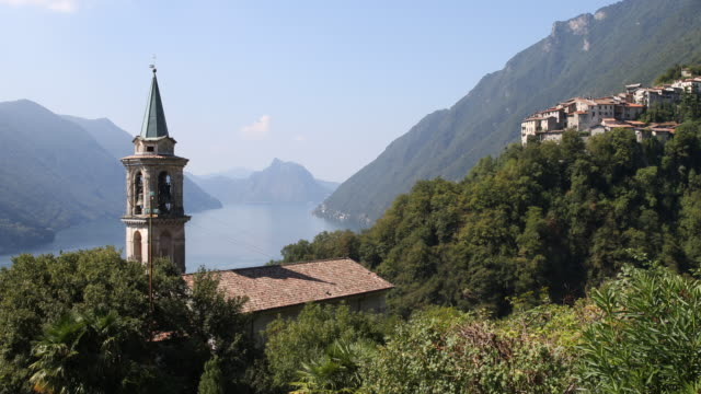 the valsolda municipality at the lugano lake between italy and switzerland - bell tower tower stock videos & royalty-free footage