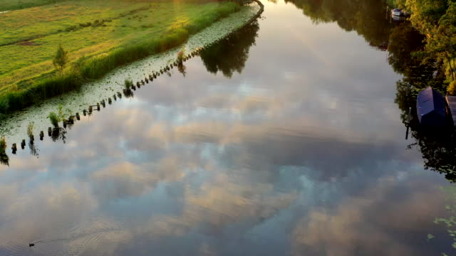 the vecht river in the netherlands - utrecht stock videos & royalty-free footage