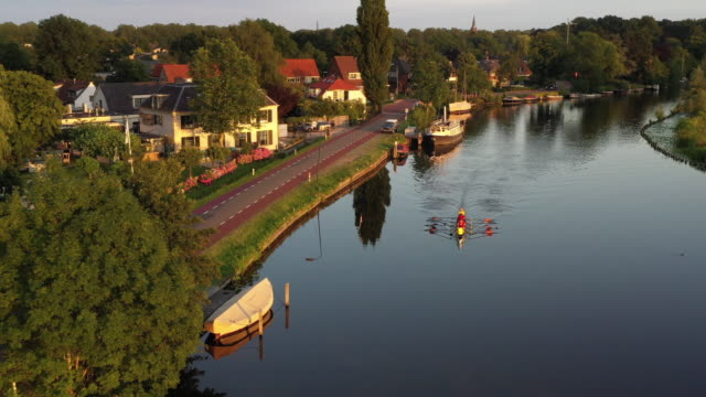 the vecht river in the netherlands - paesi bassi video stock e b–roll