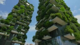 The Vertical Forest, two residential towers in Milan, Italy. Steadicam shot