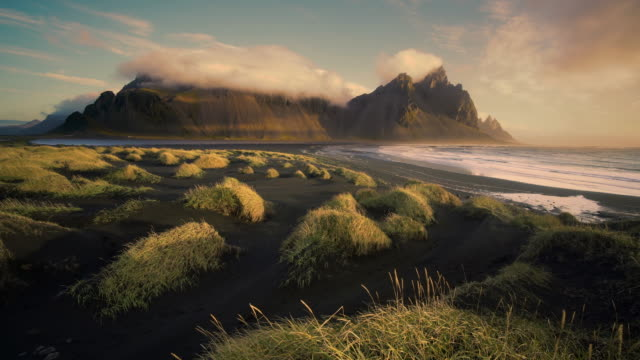 The Vestrahorn mountains at sunrise in Southern Iceland