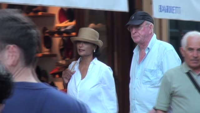 the veteran english actor out and about whilst on holiday with his wife shakira caine sir michael caine sighted in portofino on august 11 2012 in... - shakira caine stock videos and b-roll footage