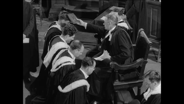 montage the vice chancellor bestows degrees to graduates at oxford university / oxford, england - oxford university stock videos & royalty-free footage