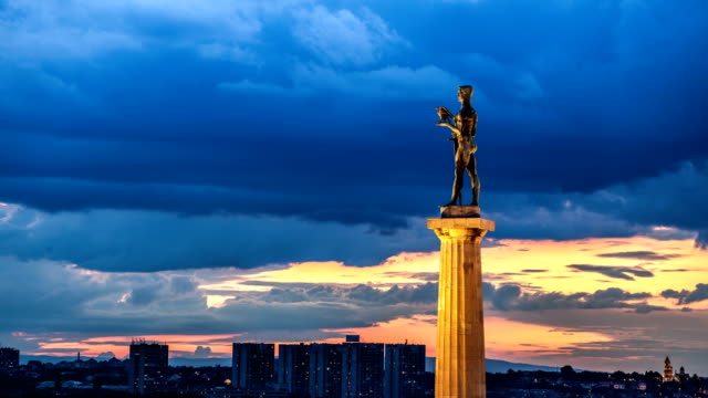 the victor - belgrade time lapse - serbia stock videos & royalty-free footage