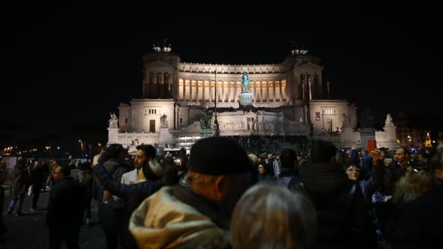 the victor emmanuel monument at the piazza venezia in rome on december 8 2016 - piazza venezia stock videos and b-roll footage