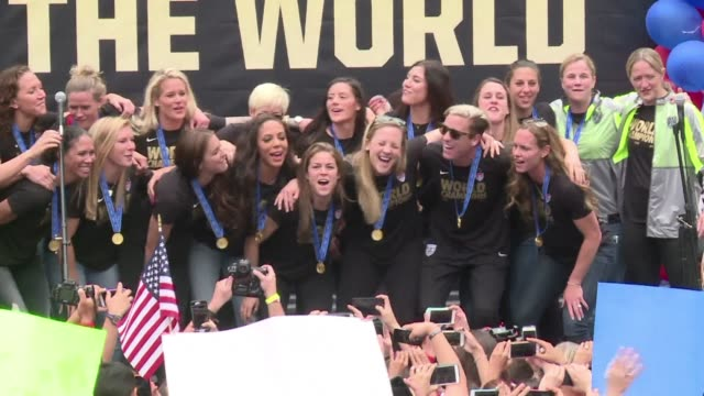 The victorious US Women's football team took part in a public celebration downtown Los Angeles with thousands of fans The US team won the World Cup...