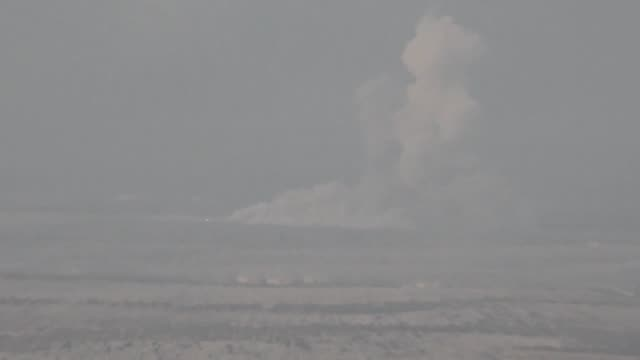 The video footaged from Azaz town of Syria shows smoke rising after Turkish military aircrafts hit PYD/PKK terror group's observation posts and...