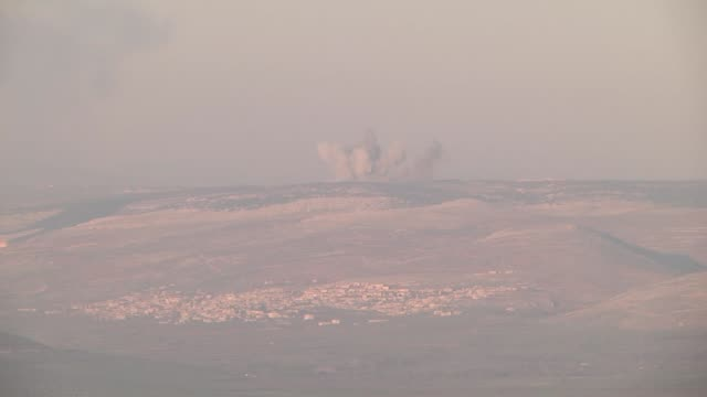 The video footaged from Syria's Idlib shows that smoke rises after Turkish jets destroyed observation posts and many other targets of PYD/PKK...