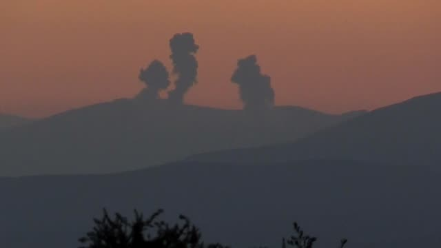 The video footaged from Turkey's Hatay and Kilis provinces shows that smoke rises after Turkish jets destroyed observation posts and many other...