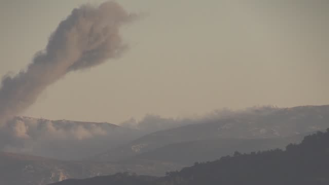The video footaged from Turkey's Hatay shows that smoke rises after Turkish jets destroyed observation posts and many other targets of PYD/PKK...