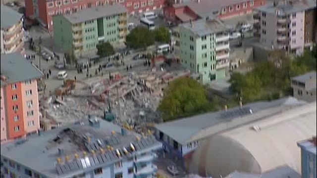 The video shot from helicopter shows that the buildings collapsed during the earthquake in Ercis district of Van city in east Anatolian region of...