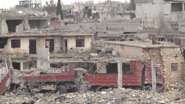 the video shot in kobani syria displays wreckage of buildings left by fighting between islamic state of iraq and the levant and kurdish armed groups... - damaged stock videos & royalty-free footage