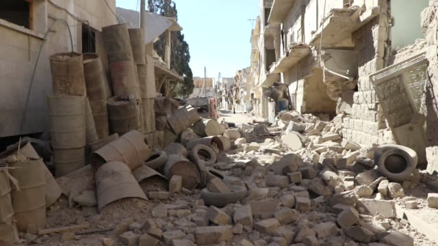 the video shows damaged sahra hospital after barrel bomb strikes by syrian regime forces over sahur neighborhood of aleppo syria on october 01 2016... - equipment stock videos & royalty-free footage