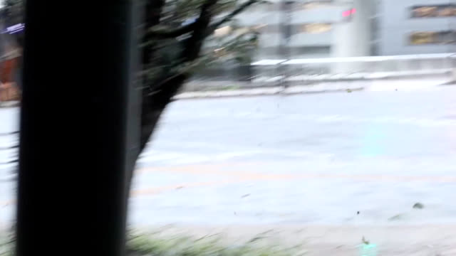 the video shows the wind and rain on september 4 2018 in osaka japan the strongest typhoon to hit japan in 25 years made landfall in southern... - tokushima prefecture stock videos & royalty-free footage