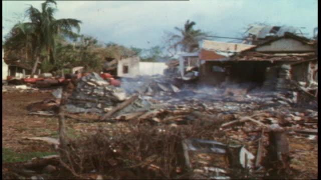 smoking debris in destroyed village - audio software stock videos & royalty-free footage