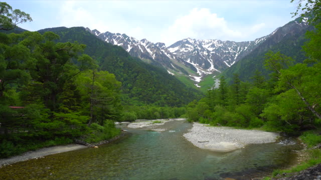the view from kappabashi bridge - nagano prefecture stock videos and b-roll footage