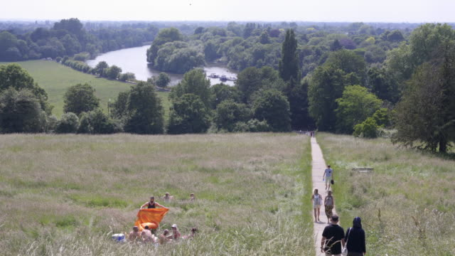 the view from terrace walk on richmond hill, over looking the river thames on a summers afternoon, london, uk - picknick stock-videos und b-roll-filmmaterial