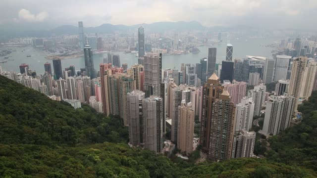 the view from the peak over-looking hong kong island and kowloon peninsula in hong kong on march 20, 2013 in hong kong, hong kong. the peak, also... - hong kong island stock videos & royalty-free footage